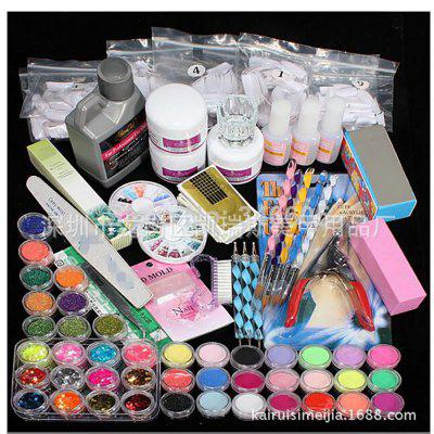 Manicure Set DIY Acrylic Powder Liquid Glitter File Nail Tips Kit