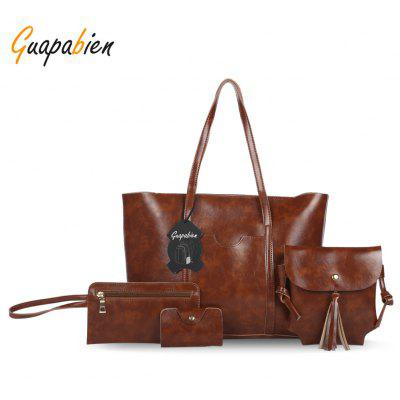 Guapabien Women Bag Set PU Leather Handbag Wristlet