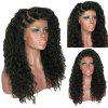 Women Kinky Curly Side Parting Synthetic Hair Lace Front Wig - BLACK