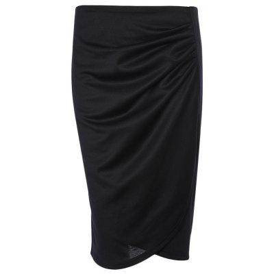 Buy BLACK 4XL High Waist Slit Ruched Zipper Bodycon Women Pencil Skirt for $17.49 in GearBest store