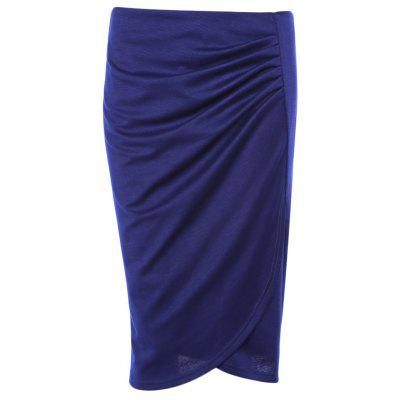 High Waist Slit Ruched Zipper Bodycon Women Pencil Skirt