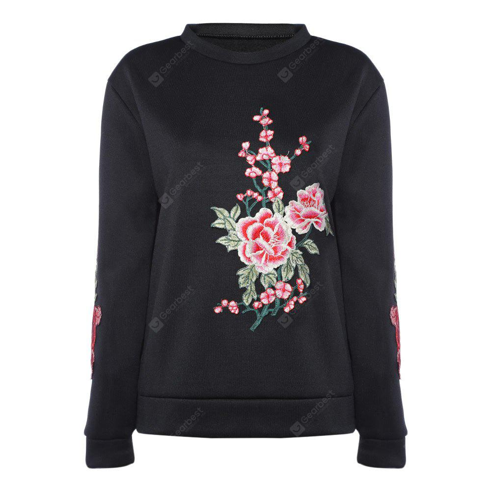 Round Collar Long Sleeve Floral Embroidery Women Sweatshirt