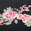 Round Collar Long Sleeve Floral Embroidery Women Sweatshirt - BLACK
