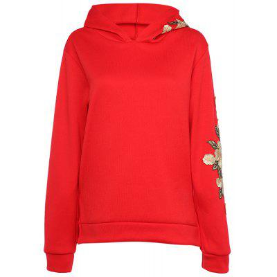 Hooded Langarm Floral Stickerei Slit Frauen Hoodie