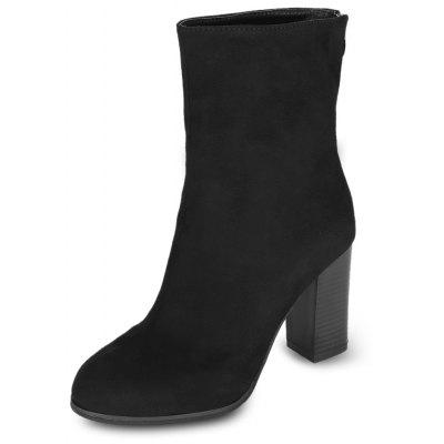 Female Pointed Toe Back Zipper Chunky Heel Mid-calf Boots