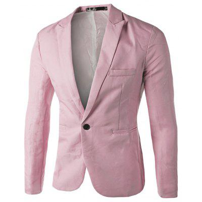 Buy PINK M Lapel Long Sleeve Slit Pocket Button Solid Color Men Suit for $18.88 in GearBest store