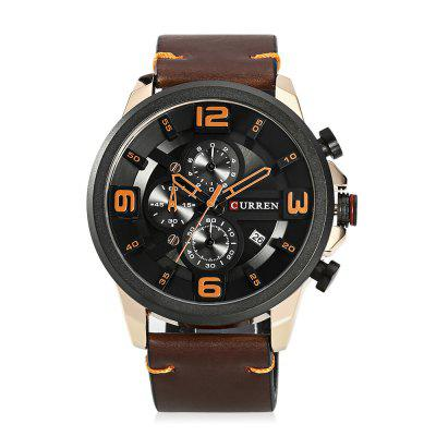 Curren 8288 Male Quartz WatchMens Watches<br>Curren 8288 Male Quartz Watch<br><br>Band Length: 8.58 inch<br>Band Material Type: Leather<br>Band Width: 24mm<br>Case material: Alloy<br>Case Shape: Round<br>Case Thickness: 0.47 inch<br>Clasp type: Pin Buckle<br>Dial Diameter: 1.89 inch<br>Dial Display: Analog<br>Dial Window Material Type: Hardlex<br>Feature: Date, Chronograph<br>Gender: Men<br>Movement: Quartz<br>Package Contents: 1 x Watch<br>Package Size(L x W x H): 11.50 x 8.50 x 7.00 cm / 4.53 x 3.35 x 2.76 inches<br>Package weight: 0.2020 kg<br>Product Size(L x W x H): 27.00 x 5.20 x 1.20 cm / 10.63 x 2.05 x 0.47 inches<br>Product weight: 0.0940 kg<br>Style: Fashion &amp; Casual<br>Water Resistance Depth: 30m