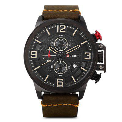 Curren 8278 Male Quartz WatchMens Watches<br>Curren 8278 Male Quartz Watch<br><br>Band Length: 8.66 inch<br>Band Material Type: Leather<br>Band Width: 24mm<br>Case material: Alloy<br>Case Shape: Round<br>Case Thickness: 0.47 inch<br>Clasp type: Pin Buckle<br>Dial Diameter: 1.89 inch<br>Dial Display: Analog<br>Dial Window Material Type: Hardlex<br>Feature: Date, Chronograph<br>Gender: Men<br>Movement: Quartz<br>Package Contents: 1 x Watch<br>Package Size(L x W x H): 11.50 x 8.50 x 7.00 cm / 4.53 x 3.35 x 2.76 inches<br>Package weight: 0.1970 kg<br>Product Size(L x W x H): 27.00 x 5.50 x 1.20 cm / 10.63 x 2.17 x 0.47 inches<br>Product weight: 0.0900 kg<br>Style: Fashion &amp; Casual<br>Water Resistance Depth: 30m