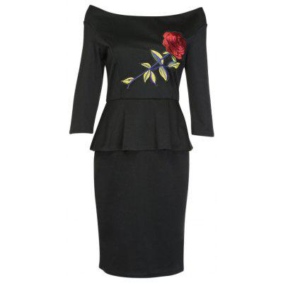 Off The Shoulder 3/4 Sleeve Embroidery Women Dress