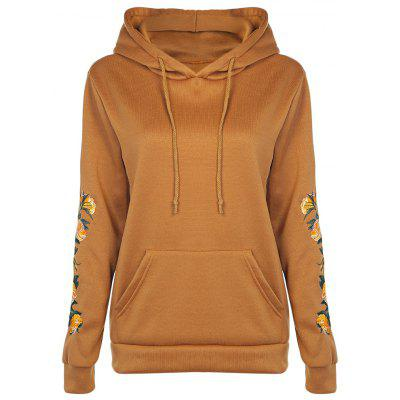 Casual Hooded Long Sleeve Floral Embroidery Pocket Women Hoodie