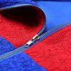 Hooded Long Sleeve Lace Color Blocking Zipper Women Hoodie - BLUE