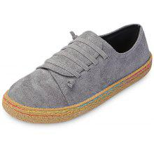 4199bf7dc9f 14% OFF Round Toe Lace-up Slip-on Suede Loafers Women Flat Shoes