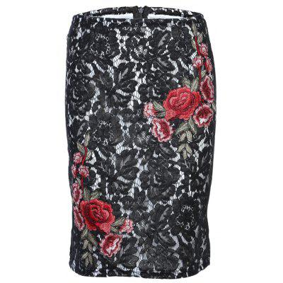 Trendy Elastic Waist Lace Floral Embroidery Slit Zipper Women Skirt