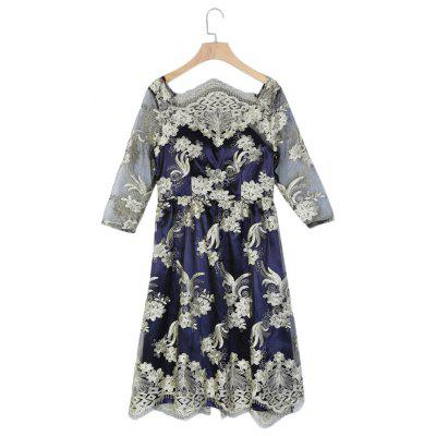 Buy BLUE L Boat Neck Half Sleeve Floral Embroidery Mesh Women Dress for $17.60 in GearBest store
