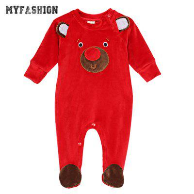 MYFASHION Christmas Baby Clothes Fleece Infant Jumpsuit