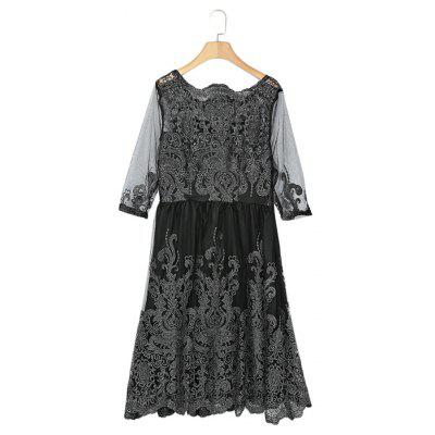 Buy BLACK L Boat Neck 3/4 Sleeve Embroidery Mesh A-line Women Dress for $18.45 in GearBest store