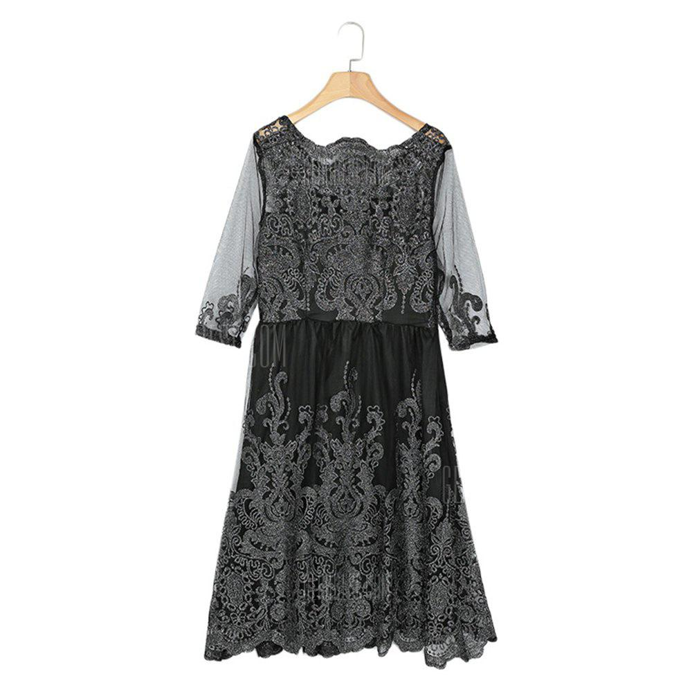 BLACK XL Boat Neck 3/4 Sleeve Embroidery Mesh A-line Women Dress