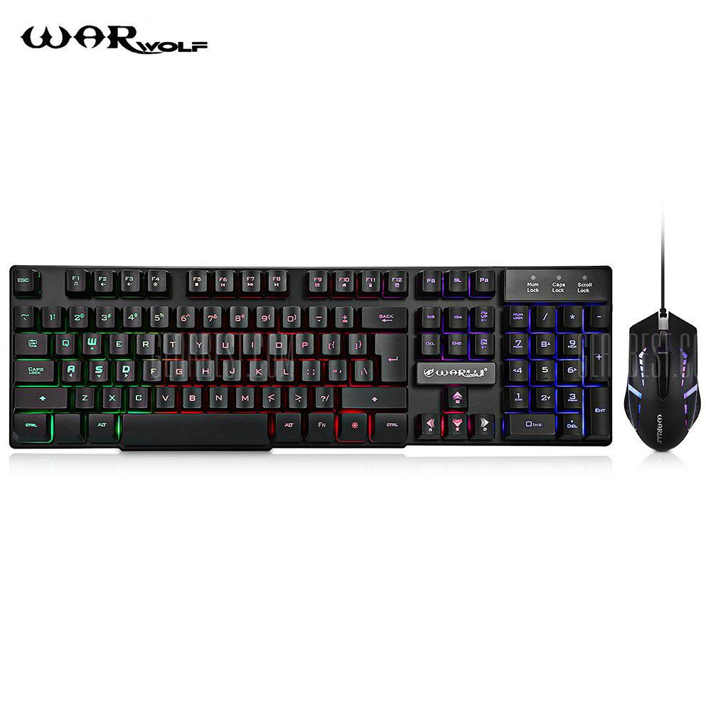 warwolf usb wired gaming keyboard & optical mouse 3 buttons mice combo set kit