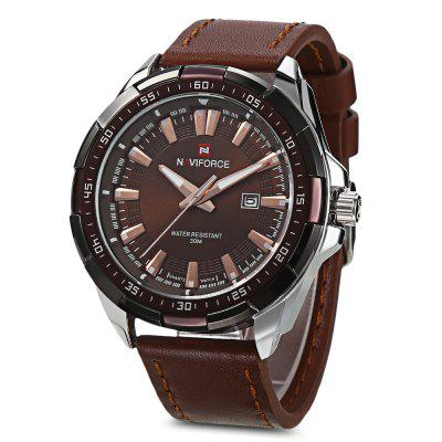 NAVIFORCE 9056 Men Leather Band Quartz Watch