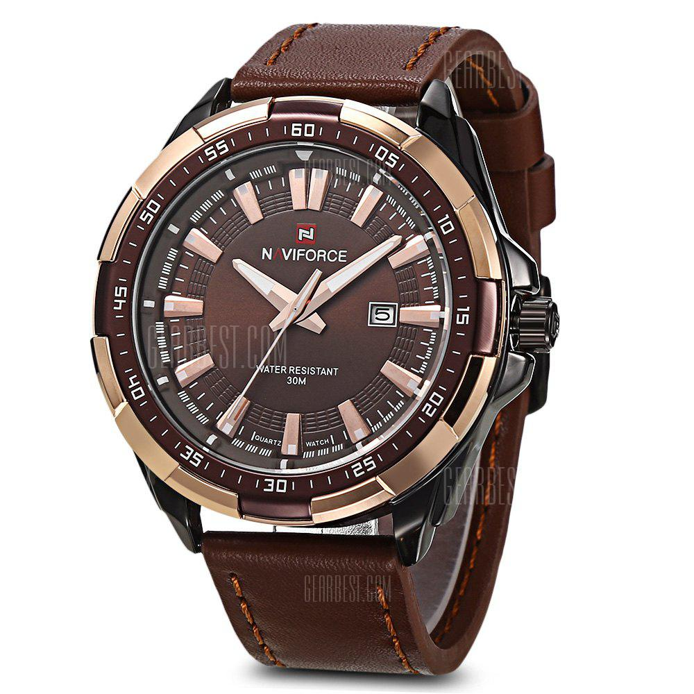 NAVIFORCE 9056 Men Leather Band Quartz Watch - BROWN BLACK