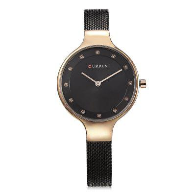 Curren 9008 Women Quartz WatchWomens Watches<br>Curren 9008 Women Quartz Watch<br><br>Band Length: 7.68 inch<br>Band Material Type: Stainless Steel<br>Band Width: 10mm<br>Case material: Alloy<br>Case Shape: Round<br>Case Thickness: 0.28 inch<br>Clasp type: Hook Buckle<br>Dial Diameter: 1.26 inch<br>Dial Display: Analog<br>Dial Window Material Type: Hardlex<br>Gender: Women<br>Movement: Quartz<br>Package Contents: 1 x Watch<br>Package Size(L x W x H): 11.50 x 8.50 x 7.00 cm / 4.53 x 3.35 x 2.76 inches<br>Package weight: 0.1470 kg<br>Product Size(L x W x H): 23.00 x 3.50 x 0.70 cm / 9.06 x 1.38 x 0.28 inches<br>Product weight: 0.0400 kg<br>Style: Simple<br>Water Resistance Depth: 30m