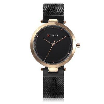 Curren 9005 Women Quartz WatchWomens Watches<br>Curren 9005 Women Quartz Watch<br><br>Band Length: 7.68 inch<br>Band Material Type: Stainless Steel<br>Band Width: 16mm<br>Case material: Alloy<br>Case Shape: Round<br>Case Thickness: 0.28 inch<br>Clasp type: Hook Buckle<br>Dial Diameter: 1.34 inch<br>Dial Display: Analog<br>Dial Window Material Type: Hardlex<br>Gender: Women<br>Movement: Quartz<br>Package Contents: 1 x Watch<br>Package Size(L x W x H): 11.50 x 8.50 x 7.50 cm / 4.53 x 3.35 x 2.95 inches<br>Package weight: 0.1620 kg<br>Product Size(L x W x H): 23.00 x 3.50 x 0.70 cm / 9.06 x 1.38 x 0.28 inches<br>Product weight: 0.0550 kg<br>Style: Simple<br>Water Resistance Depth: 30m