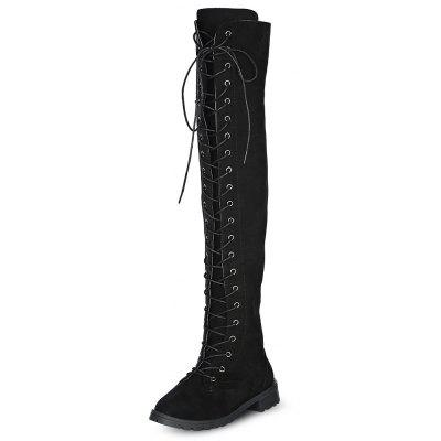 Round Toe Lace-up Zipper Low Heel Women Thigh-high Boots