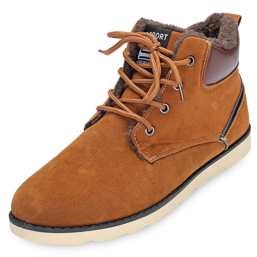Round Toe Lace-up Fleece Flat Heel Men Ankle Boots
