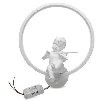 W1001 White Horn LED Angel Violin Modern Decoration Wall Lamp Bedside and Aisle Light Width 30CM for Bedroom Living Room