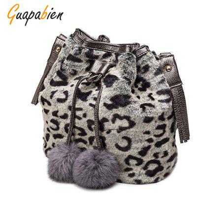 Buy BLACK LEOPARD PRINT Guapabien Women Drawstring Shoulder Crossbody Bucket Bag for $18.60 in GearBest store