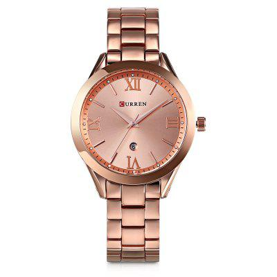 Curren 9007 Women Quartz Watch CalendarWomens Watches<br>Curren 9007 Women Quartz Watch Calendar<br><br>Band Length: 6.69 inch<br>Band Material Type: Stainless Steel<br>Band Width: 16mm<br>Case material: Alloy<br>Case Shape: Round<br>Case Thickness: 0.39 inch<br>Clasp type: Folding Clasp<br>Dial Diameter: 1.5 inch<br>Dial Display: Analog<br>Dial Window Material Type: Hardlex<br>Gender: Women<br>Movement: Quartz<br>Package Contents: 1 x Watch<br>Package Size(L x W x H): 11.50 x 8.50 x 7.50 cm / 4.53 x 3.35 x 2.95 inches<br>Package weight: 0.1920 kg<br>Product Size(L x W x H): 21.00 x 4.00 x 1.00 cm / 8.27 x 1.57 x 0.39 inches<br>Product weight: 0.0900 kg<br>Style: Business<br>Water Resistance Depth: 30m