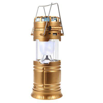 Solar Rechargeable Flashlight LED Camping Lantern with Fan