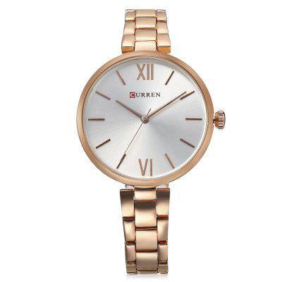 Curren 9017 Women Simple Dial Quartz WatchWomens Watches<br>Curren 9017 Women Simple Dial Quartz Watch<br><br>Band Length: 6.77 inch<br>Band Material Type: Stainless Steel<br>Band Width: 14mm<br>Case material: Alloy<br>Case Shape: Round<br>Case Thickness: 0.28 inch<br>Clasp type: Hook Buckle<br>Dial Diameter: 1.38 inch<br>Dial Display: Analog<br>Dial Window Material Type: Hardlex<br>Gender: Women<br>Movement: Quartz<br>Package Contents: 1 x Watch<br>Package Size(L x W x H): 11.50 x 8.50 x 7.50 cm / 4.53 x 3.35 x 2.95 inches<br>Package weight: 0.1570 kg<br>Product Size(L x W x H): 21.00 x 3.80 x 0.70 cm / 8.27 x 1.5 x 0.28 inches<br>Product weight: 0.0490 kg<br>Style: Dress<br>Water Resistance Depth: 30m