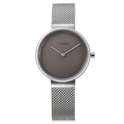 Curren 9016 Women Quartz WatchWomens Watches<br>Curren 9016 Women Quartz Watch<br><br>Band Length: 7.68 inch<br>Band Material Type: Stainless Steel<br>Band Width: 14mm<br>Case material: Alloy<br>Case Shape: Round<br>Case Thickness: 0.28 inch<br>Clasp type: Hook Buckle<br>Dial Diameter: 1.18 inch<br>Dial Display: Analog<br>Dial Window Material Type: Hardlex<br>Gender: Women<br>Movement: Quartz<br>Package Contents: 1 x Watch<br>Package Size(L x W x H): 11.50 x 8.50 x 7.50 cm / 4.53 x 3.35 x 2.95 inches<br>Package weight: 0.1570 kg<br>Product Size(L x W x H): 23.00 x 3.50 x 0.70 cm / 9.06 x 1.38 x 0.28 inches<br>Product weight: 0.0490 kg<br>Style: Simple<br>Water Resistance Depth: 30m