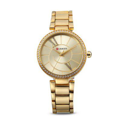 Curren 9014 Women Quartz Watch Crystal DialWomens Watches<br>Curren 9014 Women Quartz Watch Crystal Dial<br><br>Band Length: 6.77 inch<br>Band Material Type: Stainless Steel<br>Band Width: 16mm<br>Case material: Alloy<br>Case Shape: Round<br>Case Thickness: 0.28 inch<br>Clasp type: Folding Clasp<br>Dial Diameter: 1.38 inch<br>Dial Display: Analog<br>Dial Window Material Type: Hardlex<br>Gender: Women<br>Movement: Quartz<br>Package Contents: 1 x Watch<br>Package Size(L x W x H): 11.50 x 8.50 x 7.50 cm / 4.53 x 3.35 x 2.95 inches<br>Package weight: 0.1890 kg<br>Product Size(L x W x H): 21.00 x 3.80 x 0.70 cm / 8.27 x 1.5 x 0.28 inches<br>Product weight: 0.0810 kg<br>Style: Dress<br>Water Resistance Depth: 30m