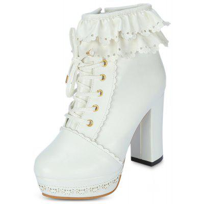 Trendy Round Toe Chunky Heel Platform Lace-up Women Ankle Boots