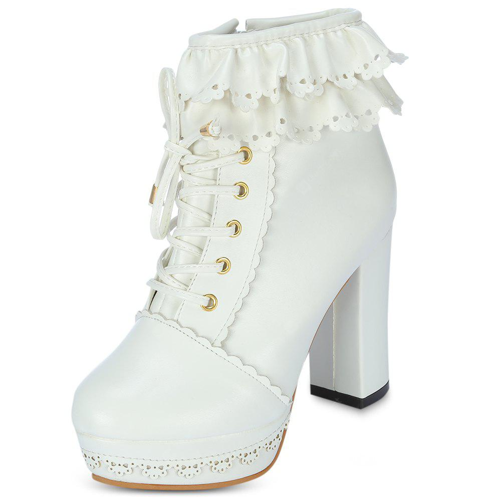 20d9c4dfed2 Round Toe Chunky Heel Platform Lace-up Women Boots -  31.40 ...