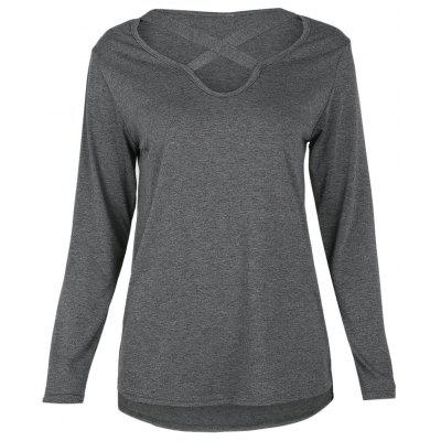 Trendy V Neck Criss Cross Strap Long Sleeve High-low Women T-shirt