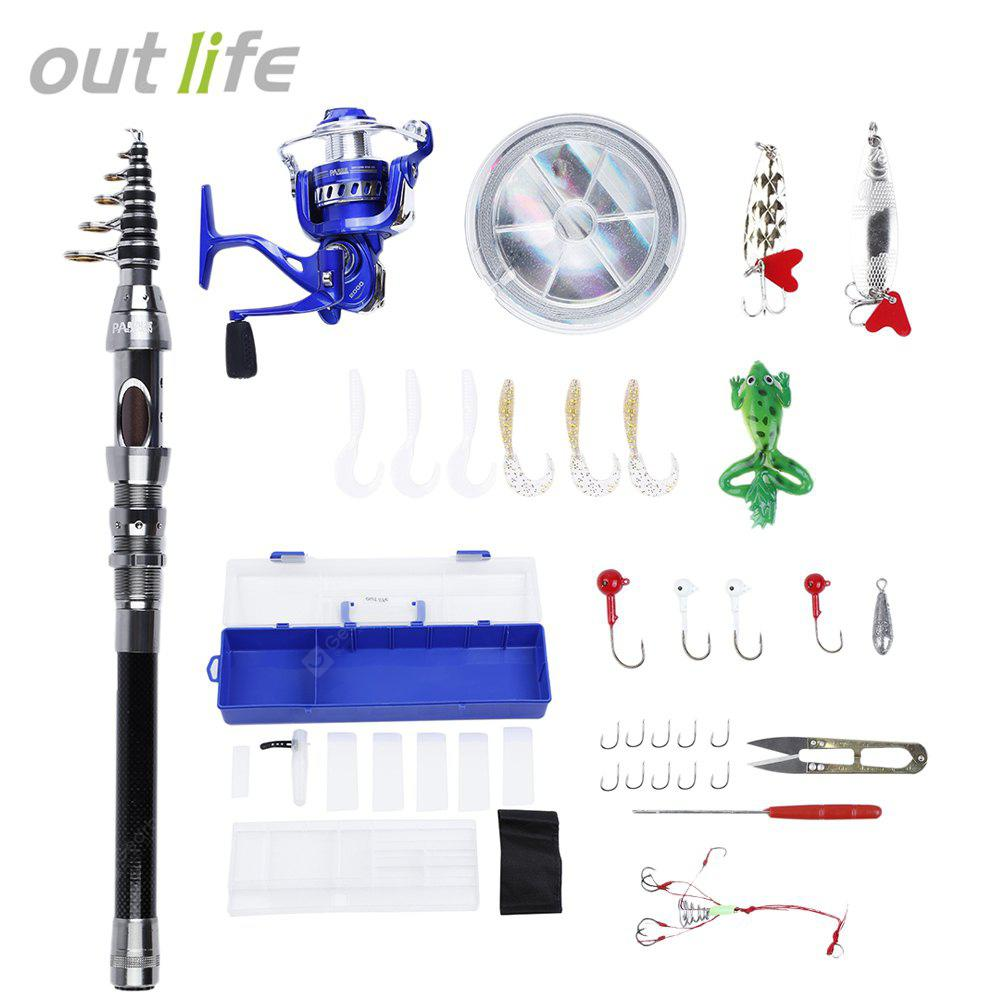 Outlife Outdoor Fishing Spinning Reel Rod Kit Set with Fish Line Lure Hook Bag
