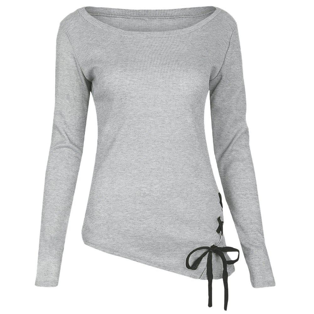 Trendy Round Collar Long Sleeve Lace-up Asymmetric Women T-shirt