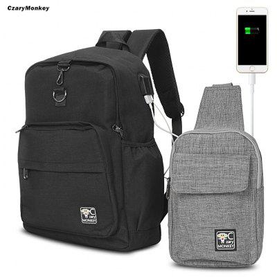 CzaryMonkey 2pcs USB Charge Port Cable Laptop Backpack Travel Chest Bag