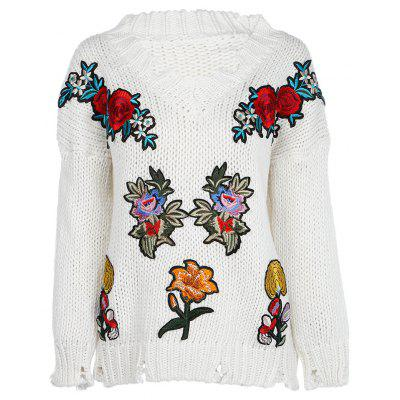 Trendy V Neck Long Sleeve Embroidery Ripped Women Sweater