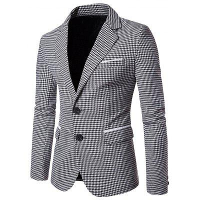 Men Blazer Slim Fit Suit Flap Pockets Lapel Houndstooth Jacket