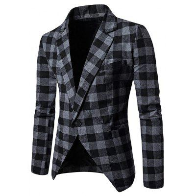 Men Blazer Slim Fit Suit Flap Pockets Lapel Plaid Male Jacket