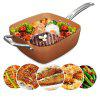 7pcs Square Nonstick Copper Pan Frying Basket Steamer Tray - COLORMIX