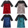 Round Collar 3/4 Sleeve Spliced Lace Velour Women Dress - BLUE