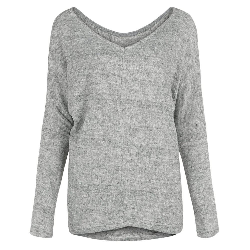 Trendy V Neck Long Sleeve Solid Color Loose Women T-shirt