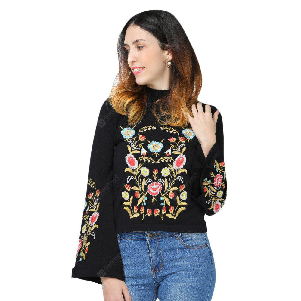 Stand Collar Long Sleeve Tied Embroidery Women Sweater