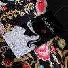 Stand Collar Long Sleeve Tied Embroidery Women Sweater - BLACK