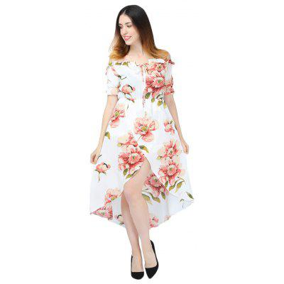 Sexy Off The Shoulder Puff Sleeve Floral Print Women Dress